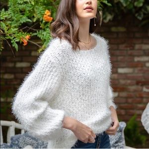 POL White Pullover Eyelash Chunky Knit Sweater S